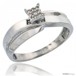 Sterling Silver Diamond Engagement Ring Rhodium finish, 1/4 in wide