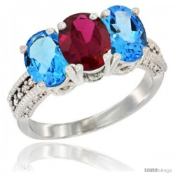 10K White Gold Natural Ruby & Swiss Blue Topaz Sides Ring 3-Stone Oval 7x5 mm Diamond Accent
