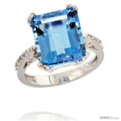 10k White Gold Diamond Swiss Blue Topaz Ring 5.83 ct Emerald Shape 12x10 Stone 1/2 in wide