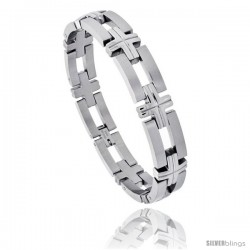 Stainless Steel Men's Bracelet, w/ Bars & Crosses 1/2 in wide, 8 in long
