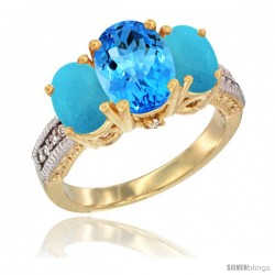 14K Yellow Gold Ladies 3-Stone Oval Natural Swiss Blue Topaz Ring with Turquoise Sides Diamond Accent