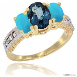 14k Yellow Gold Ladies Oval Natural London Blue Topaz 3-Stone Ring with Turquoise Sides Diamond Accent