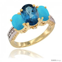 14K Yellow Gold Ladies 3-Stone Oval Natural London Blue Topaz Ring with Turquoise Sides Diamond Accent