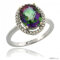 Sterling Silver Diamond Mystic Topaz Ring 2.4 ct Oval Stone 10x8 mm, 1/2 in wide -Style Cwg08114