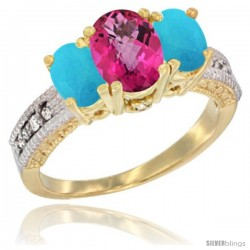 14k Yellow Gold Ladies Oval Natural Pink Topaz 3-Stone Ring with Turquoise Sides Diamond Accent