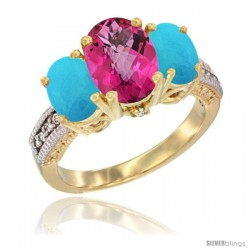 14K Yellow Gold Ladies 3-Stone Oval Natural Pink Topaz Ring with Turquoise Sides Diamond Accent