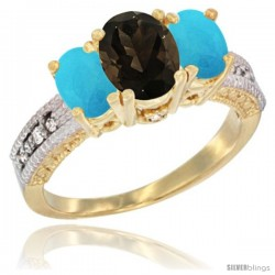 14k Yellow Gold Ladies Oval Natural Smoky Topaz 3-Stone Ring with Turquoise Sides Diamond Accent