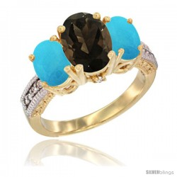 14K Yellow Gold Ladies 3-Stone Oval Natural Smoky Topaz Ring with Turquoise Sides Diamond Accent