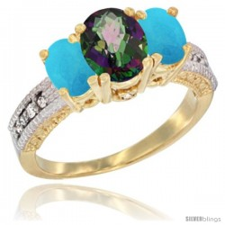 14k Yellow Gold Ladies Oval Natural Mystic Topaz 3-Stone Ring with Turquoise Sides Diamond Accent