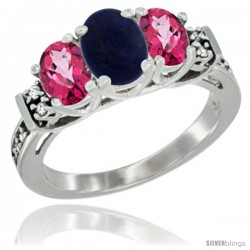 14K White Gold Natural Lapis & Pink Topaz Ring 3-Stone Oval with Diamond Accent
