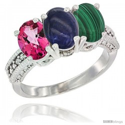 14K White Gold Natural Pink Topaz, Lapis & Malachite Ring 3-Stone 7x5 mm Oval Diamond Accent