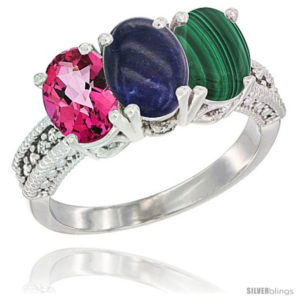 https://www.silverblings.com/57231-thickbox_default/14k-white-gold-natural-pink-topaz-lapis-malachite-ring-3-stone-7x5-mm-oval-diamond-accent.jpg
