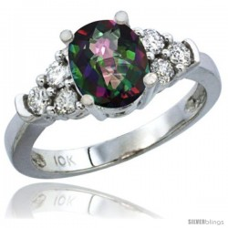 10K White Gold Natural Mystic Topaz Ring Oval 9x7 Stone Diamond Accent