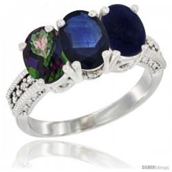 10K White Gold Natural Mystic Topaz, Blue Sapphire & Lapis Ring 3-Stone Oval 7x5 mm Diamond Accent