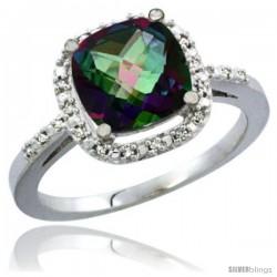 10K White Gold Natural Mystic Topaz Ring Cushion-cut 8x8 Stone Diamond Accent
