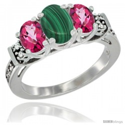 14K White Gold Natural Malachite & Pink Topaz Ring 3-Stone Oval with Diamond Accent