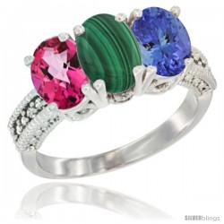 14K White Gold Natural Pink Topaz, Malachite & Tanzanite Ring 3-Stone 7x5 mm Oval Diamond Accent