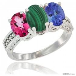 14K White Gold Natural Pink Topaz, Malachite & Tanzanite Ring 3-Stone 7x5 mm Oval Diamond Accent