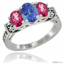 14K White Gold Natural Tanzanite & Pink Topaz Ring 3-Stone Oval with Diamond Accent