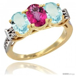 10K Yellow Gold Natural Pink Topaz & Aquamarine Sides Ring 3-Stone Oval 7x5 mm Diamond Accent