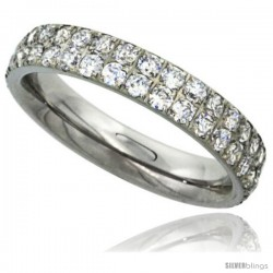 Surgical Steel 2-Row Eternity Band Ring Cubic Zirconia Stones 4mm