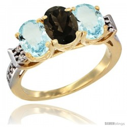 10K Yellow Gold Natural Smoky Topaz & Aquamarine Sides Ring 3-Stone Oval 7x5 mm Diamond Accent