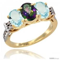 10K Yellow Gold Natural Mystic Topaz & Aquamarine Sides Ring 3-Stone Oval 7x5 mm Diamond Accent