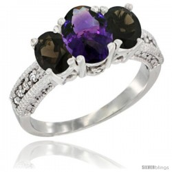 14k White Gold Ladies Oval Natural Amethyst 3-Stone Ring with Smoky Topaz Sides Diamond Accent