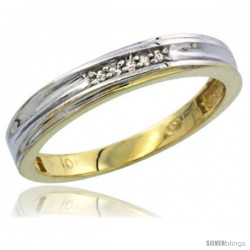 10k Yellow Gold Ladies Diamond Wedding Band Ring 0.03 cttw Brilliant Cut, 1/8 in wide -Style Ljy020lb