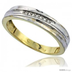 10k Yellow Gold Mens Diamond Wedding Band Ring 0.04 cttw Brilliant Cut, 3/16 in wide -Style Ljy020mb