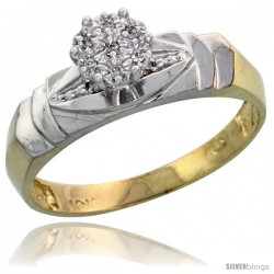 10k Yellow Gold Diamond Engagement Ring 0.04 cttw Brilliant Cut, 3/16 in wide -Style Ljy021er