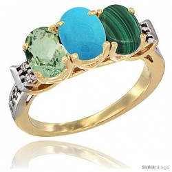 10K Yellow Gold Natural Green Amethyst, Turquoise & Malachite Ring 3-Stone Oval 7x5 mm Diamond Accent