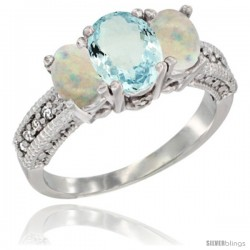 14k White Gold Ladies Oval Natural Aquamarine 3-Stone Ring with Opal Sides Diamond Accent