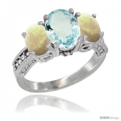 14K White Gold Ladies 3-Stone Oval Natural Aquamarine Ring with Opal Sides Diamond Accent
