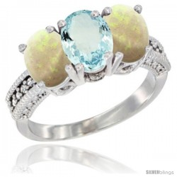 14K White Gold Natural Aquamarine & Opal Sides Ring 3-Stone 7x5 mm Oval Diamond Accent