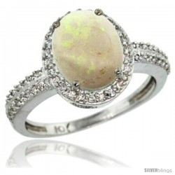 14k White Gold Diamond Opal Ring Oval Stone 10x8 mm 2.4 ct 1/2 in wide