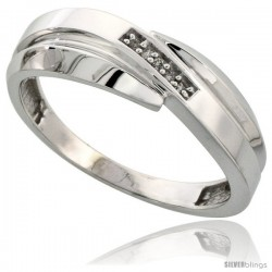 Sterling Silver Men's Diamond Wedding Band Rhodium finish, 9/32 in wide