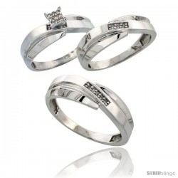 Sterling Silver Diamond Trio Wedding Ring Set His 7mm & Hers 6mm Rhodium finish