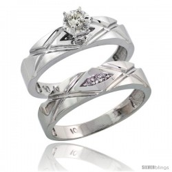 Sterling Silver 2-Piece Diamond Engagement Ring Set, w/ 0.08 Carat Brilliant Cut Diamonds, 3/16 in. (5mm) wide