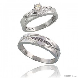 Sterling Silver 2-Piece Diamond Ring Set ( Engagement Ring & Man's Wedding Band ), w/ 0.10 Carat Brilliant Cut Diamonds, ( 5mm