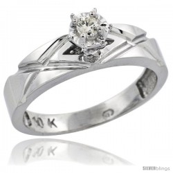 Sterling Silver Diamond Engagement Ring, w/ 0.06 Carat Brilliant Cut Diamonds, 3/16 in. (5mm) wide