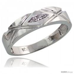 Sterling Silver Ladies' Diamond Band, w/ 0.02 Carat Brilliant Cut Diamonds, 3/16 in. (5mm) wide