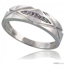 Sterling Silver Men's Diamond Band, w/ 0.04 Carat Brilliant Cut Diamonds, 1/4 in. (6mm) wide