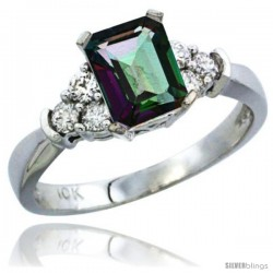 10K White Gold Natural Mystic Topaz Ring Emerald-shape 7x5 Stone Diamond Accent