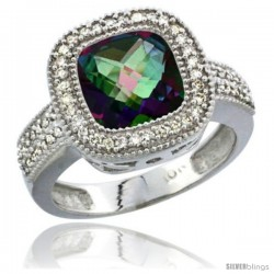 10K White Gold Natural Mystic Topaz Ring Diamond Accent, Cushion-cut 9x9 Stone Diamond Accent