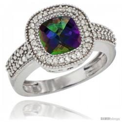 10K White Gold Natural Mystic Topaz Ring Cushion-cut 7x7 Stone Diamond Accent
