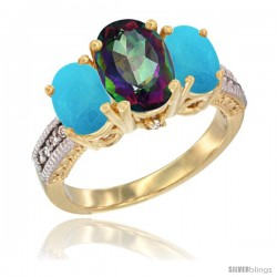 14K Yellow Gold Ladies 3-Stone Oval Natural Mystic Topaz Ring with Turquoise Sides Diamond Accent