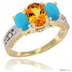 14k Yellow Gold Ladies Oval Natural Citrine 3-Stone Ring with Turquoise Sides Diamond Accent