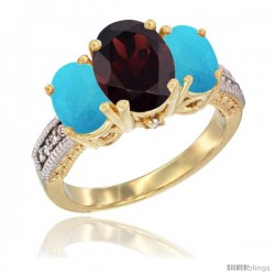 14K Yellow Gold Ladies 3-Stone Oval Natural Garnet Ring with Turquoise Sides Diamond Accent