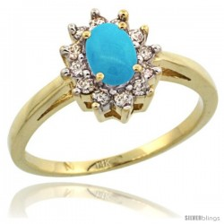 14k Yellow Gold Sleeping Beauty Turquoise Diamond Halo Ring Oval Shape 1.2 Carat 6X4 mm, 1/2 in wide
